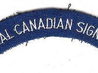 A Royal Canadian Signals battle dress shoulder flash.