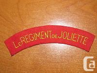 Canadian Shoulder flash for Le Regiment de Joliette.