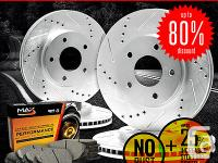 � four Silver Zinc Slotted & Drilled Brake Rotors