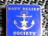 RARE Vintage Navy Relief Society Enamel Pin - Stamped