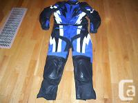 Joe Rocket Blue and Black Leather Motorcycle Suit