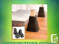 8PC ADJUSTABLE BED RISER SET Create extra storage space