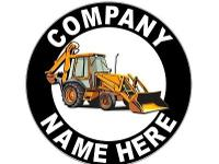 ". . Pair of 12"" Round Personalized Backhoe Loader"