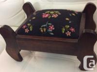 This Auction: VINTAGE NEEDLE POINT FOOT STOOL