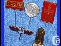 5 Assorted East Germany DDR Stick Pins, Berlin , DDR,