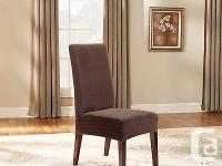 NEW~ two SURE FIT PINSTRIPE DINING CHAIR COVER - BROWN