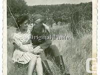 German Soldier and Girlfriend, WW2. Original photo from