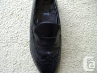 Used mens black slip on dress shoes,size 10.5-11.0.good