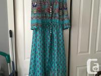 1.Turquoise patterned maxi dress, brand new - fits ~