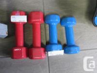 2- Red neoprene 7lb weights - $5.99 2-Blue neoprene 5lb