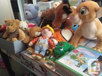 Various plush toys. Some items are new. Excellent