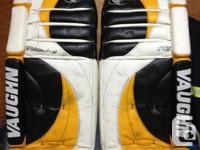 "36"" Vaughn Velocity V2 goal pads.  Approximately 6"