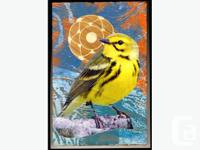 Very cool bird 'montage' painting on wood from Orbital