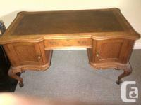 Victorian workdesk (solid forest - most likely oak) -