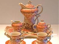 Whimsical red toile porcelain tea or coffee set for