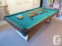 LATE 1960s COLLAPSABLE 3/4 POOL TABLE   includes: set