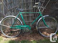 1966 Hiawatha 3 speed cruiser in unique emerald green.