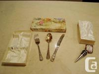 """Vintage 3pc. Silver Plated Baby """"Bunny"""" Utensil Set by"""