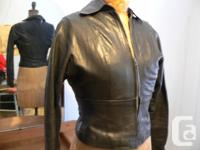 -Black leather Jacket: Vintage, tight fit, nice soft