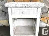 Vintage shabby chic white wicker nightstand, bedside