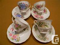 Estate sale of a selection of tea mugs with dishes in