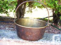 Antique solid brass jelly pail with iron handle, gauges
