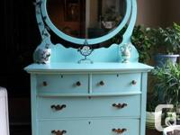 Antique dresser with mirror (initial). Dovetail