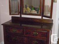 Charming 3 mirrored dresser with burled drawer fronts,