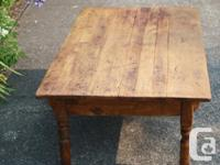 Antique Pine Kitchen Table cut down to Coffee Table