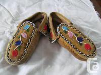 Vintage Cree moccasins. Moose hide and hand beading.