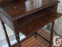Vintage phone table or tiny desk. Walnut table and