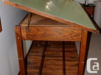 Vintage oak drafting table. Height 37 inches, Table top