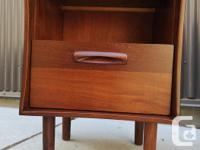 Solid teak, mid century modern three drawer dresser,
