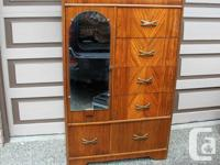 "1940's-1950's Wardrobe with Mirror. H 57"", W 36"", D 21"
