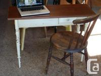 Vintage Hall Table with Walnut Top..single off-set