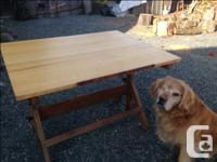 Rare Vintage Hamilton Drafting Table with oak legs and