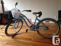 Blue bike with basket, 26 in. Bought in July and only
