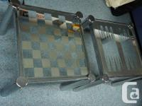 1. Two Vintage chromed cube form game table with glass