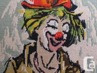 Amazing, large framed needlepoint of a circus clown