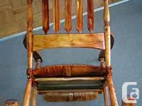 VINTAGE OAK ROCKING CHAIR ROLLING SEAT, AND SLATTED