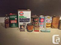 I have for sale a bunch of vintage oil cans.  -Gulf
