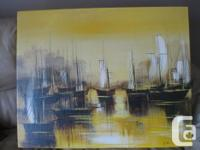 Vintage Oil Painting on Canvas (Boats) Exact age