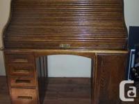 Antique Oak Roll Peak Desk. Turn of the Century. From