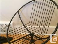 Wrought iron chair with custom padded, tuft cover with
