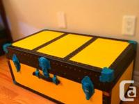 Antique Cleaner Trunk repainted yellow, eco-friendly