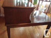 Solid wood construction, small stable 2 level table.