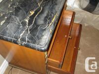 Antique Side Tables - Two. Light mahogany, marble