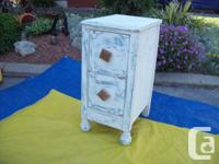 ANTIQUE CUPBOARD, END TABLES, ROCKING CHAIRS,