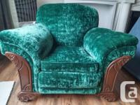 Vintage 1940s living room set with 3 seat sofa, pair of