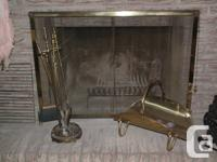For sale vintage brass fireplace screen with tools